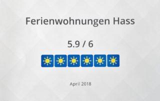 Bewertung 5,9 von 6 Punkten Holidaycheck Urkunde Ferienwohnungen Hass auf Fehmarn 2018