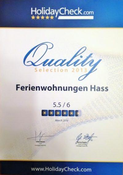Bewertung 5,5 von 6 Punkten Holidaycheck Urkunde Ferienwohnungen Hass auf Fehmarn 2013