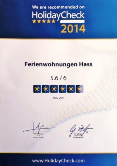 Bewertung 5,6 von 6 Punkten Holidaycheck Urkunde Ferienwohnungen Hass auf Fehmarn 2014