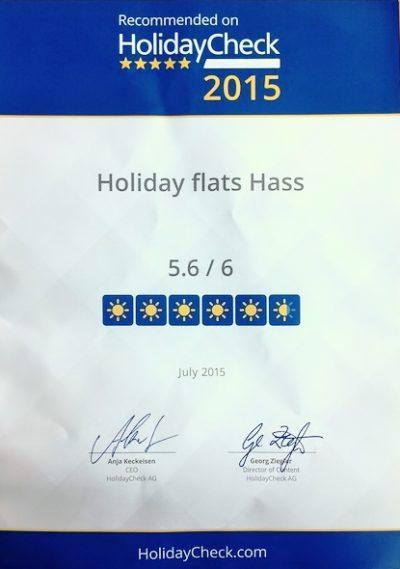 Bewertung 5,6 von 6 Punkten Holidaycheck Urkunde Ferienwohnungen Hass auf Fehmarn 2015