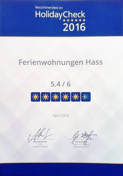 Bewertung 5,4 von 6 Punkten Holidaycheck Urkunde Ferienwohnungen Hass auf Fehmarn 2016