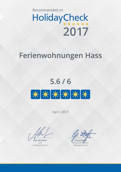 Bewertung 5,6 von 6 Punkten Holidaycheck Urkunde Ferienwohnungen Hass auf Fehmarn 2017