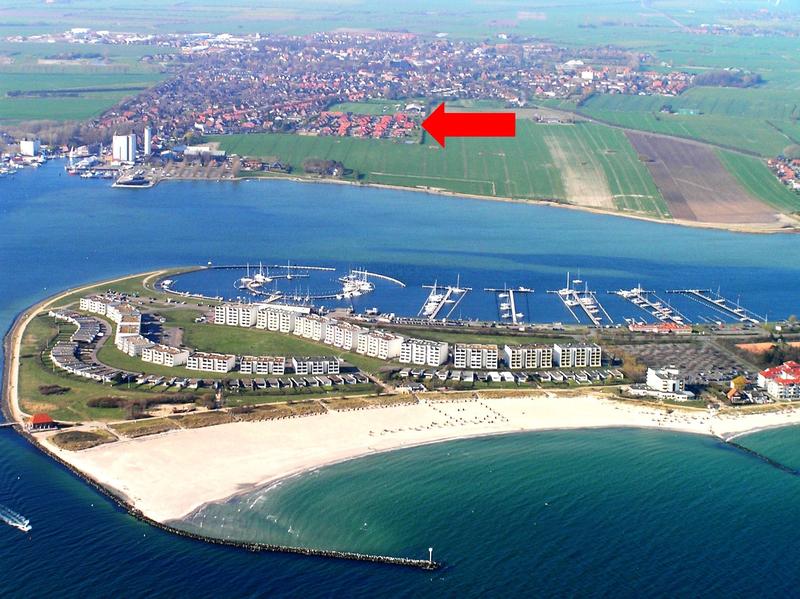 Lage beider Häuser und der Ferienwohnungen auf Fehmarn in der Nähe des Südstrandes