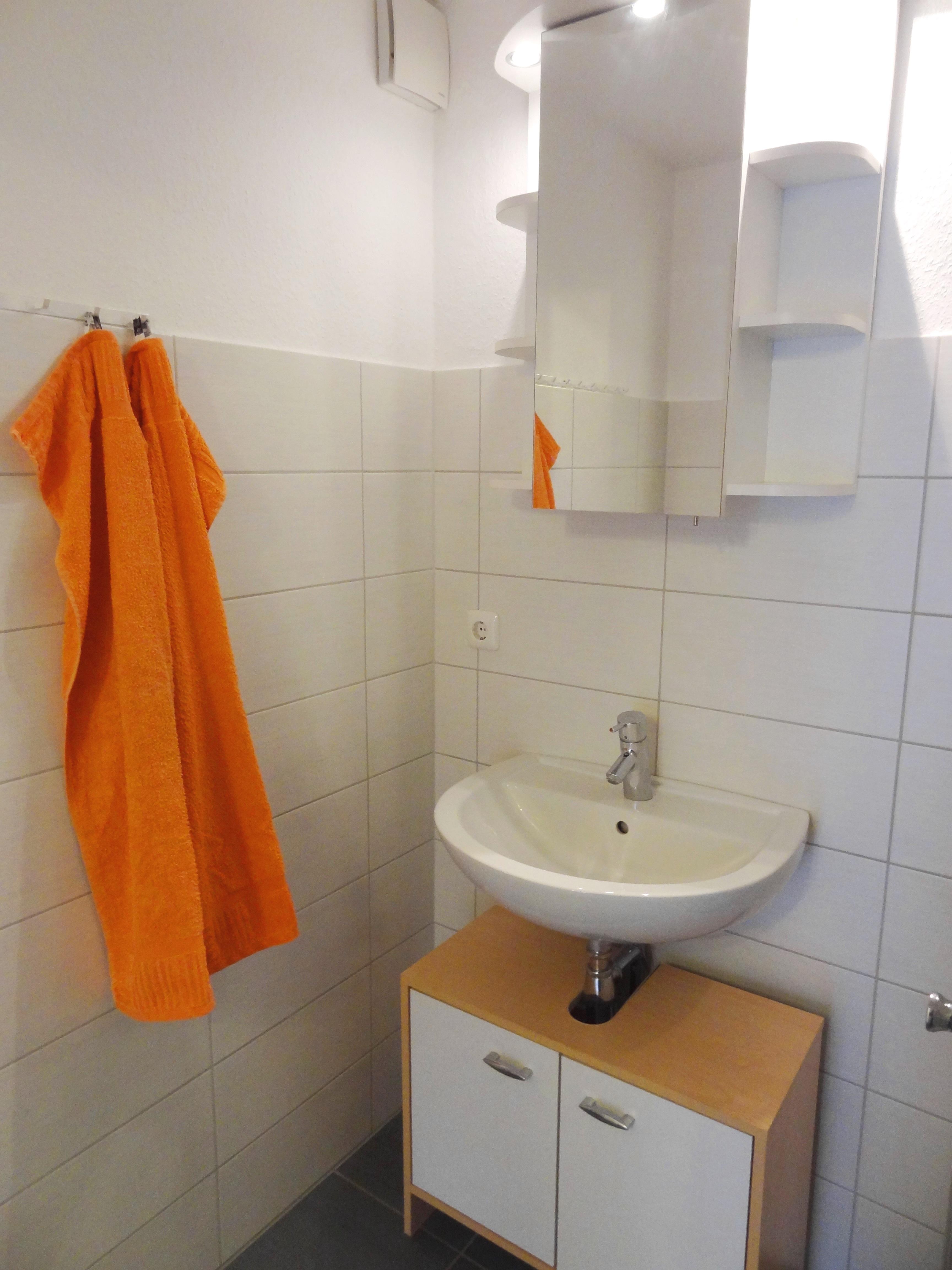 Badezimmer der Ferienwohnung Schwerin von Ferienwohnungen Hass auf Fehmarn