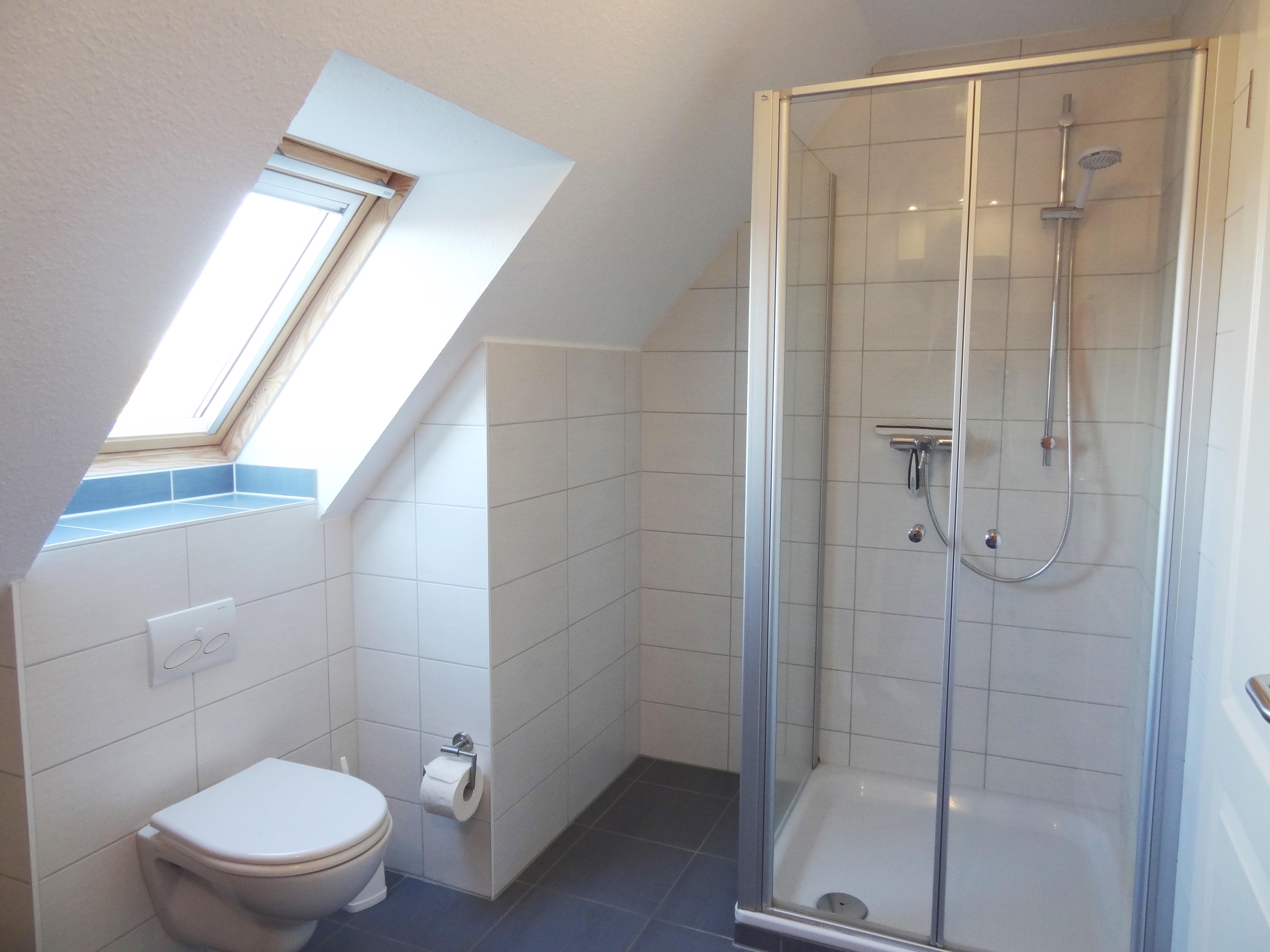 Badezimmer mit Dusche der Ferienwohnung Studio Seeblick von Ferienwohnungen Hass auf Fehmarn