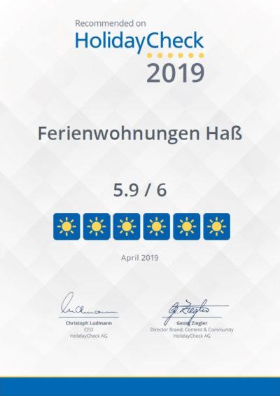 Bewertung 5,9 von 6 Punkten Holidaycheck Urkunde Ferienwohnungen Hass auf Fehmarn 2019