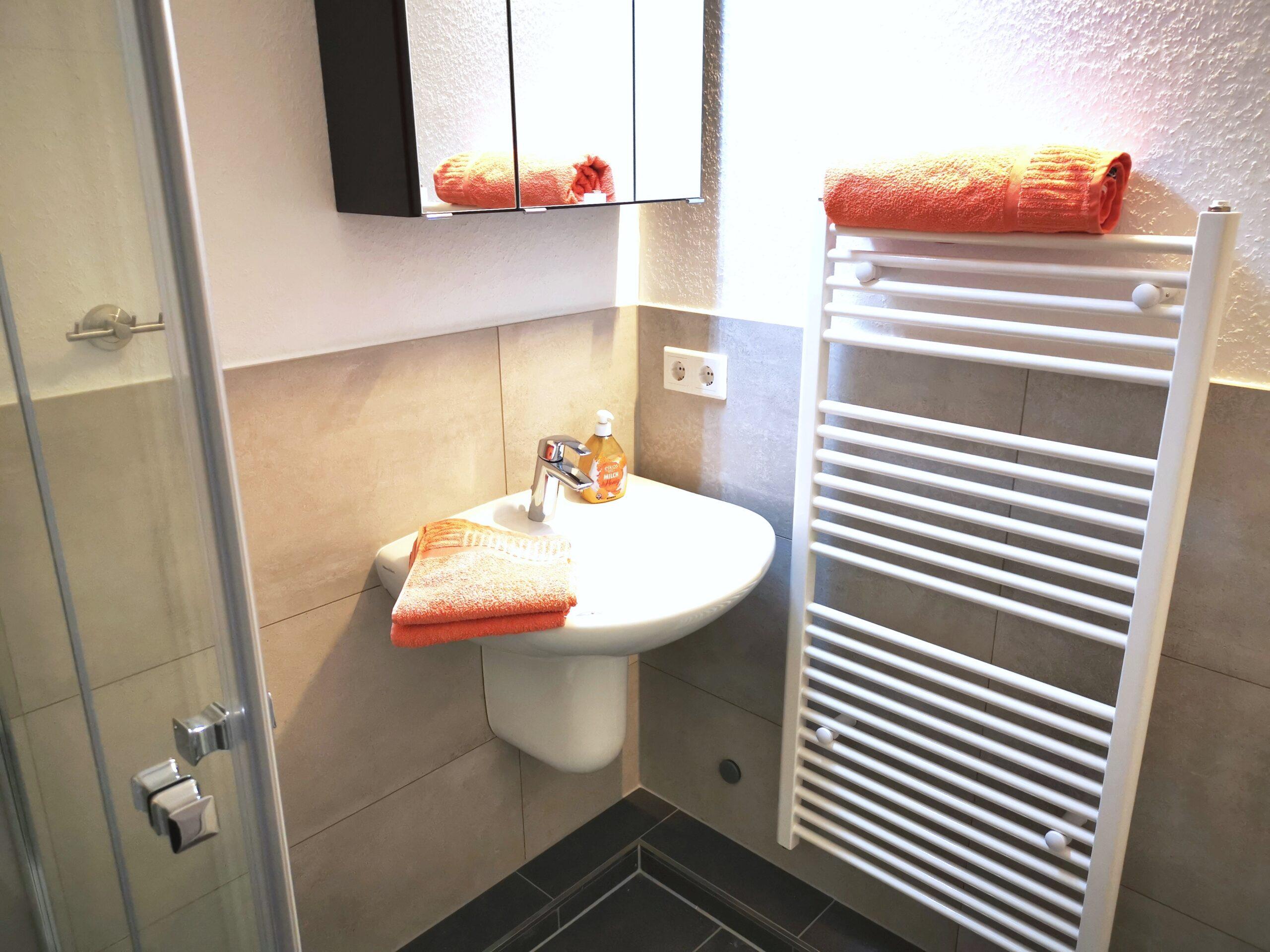 Badezimmer der Ferienwohnung Gilge von Ferienwohnungen Hass auf Fehmarn