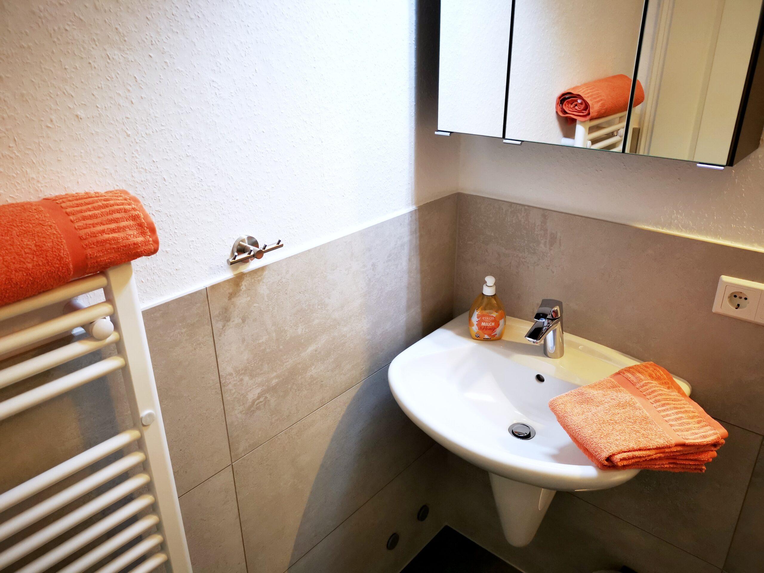Badezimmer der Ferienwohnung Brandenburg von Ferienwohnungen Hass auf Fehmarn
